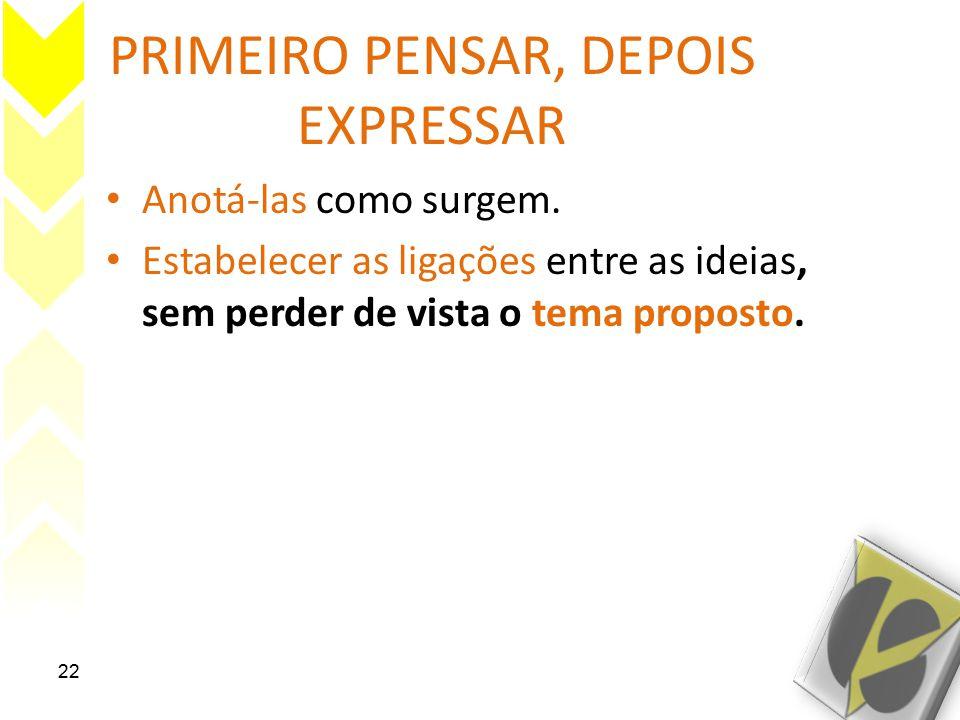 PRIMEIRO PENSAR, DEPOIS EXPRESSAR Anotá-las como surgem.