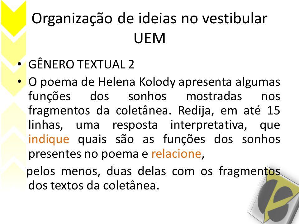 Organização de ideias no vestibular UEM GÊNERO TEXTUAL 2 O poema de Helena Kolody apresenta algumas funções dos sonhos mostradas nos fragmentos da coletânea.