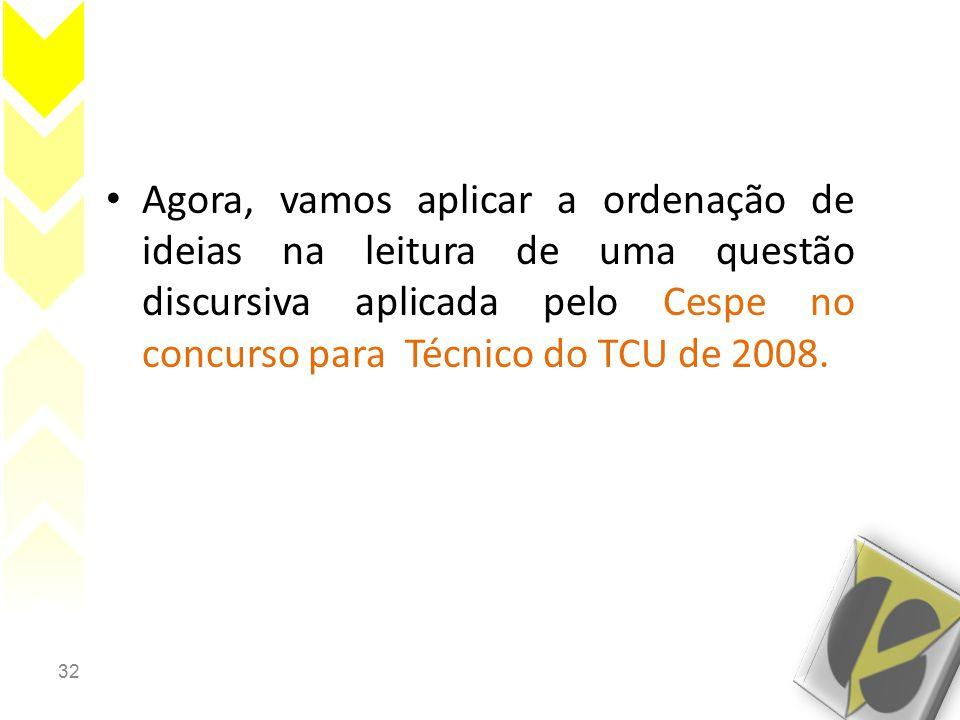 32 Agora, vamos aplicar a ordenação de ideias na leitura de uma questão discursiva aplicada pelo Cespe no concurso para Técnico do TCU de 2008.