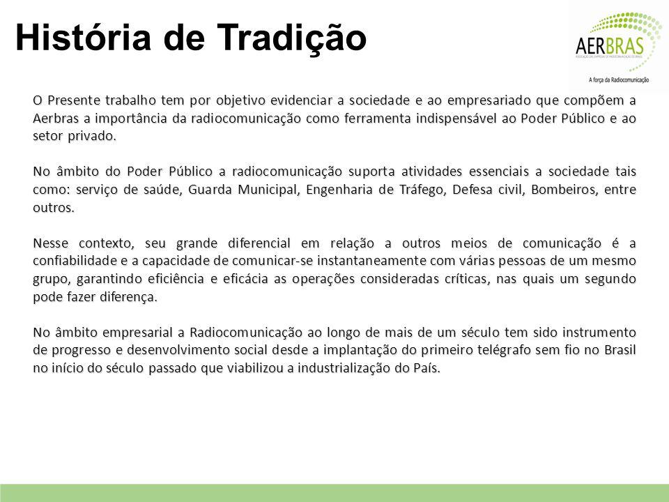 História de Tradição O Presente trabalho tem por objetivo evidenciar a sociedade e ao empresariado que compõem a Aerbras a importância da radiocomunicação como ferramenta indispensável ao Poder Público e ao setor privado.