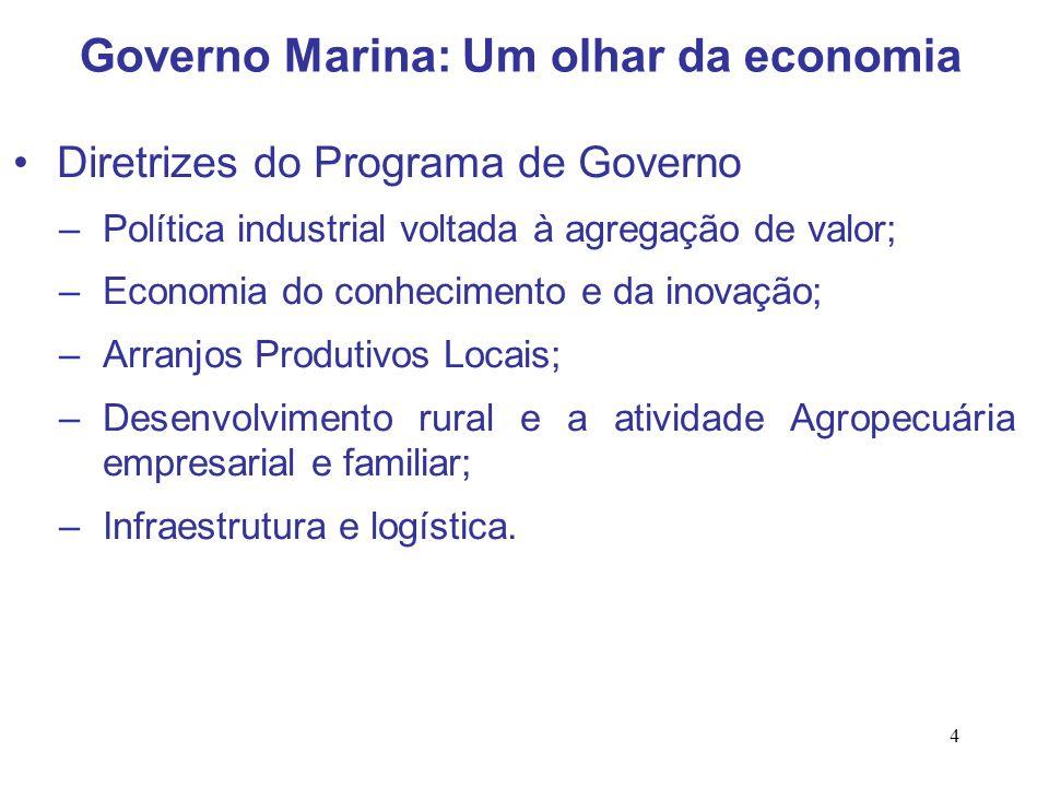 4 Diretrizes do Programa de Governo –Política industrial voltada à agregação de valor; –Economia do conhecimento e da inovação; –Arranjos Produtivos L