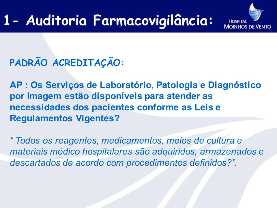 1- Auditoria Farmacovigilância: PADRÃO ACREDITAÇÃO: AP : Os Serviços de Laboratório, Patologia e Diagnóstico por Imagem estão disponíveis para atender as necessidades dos pacientes conforme as Leis e Regulamentos Vigentes.