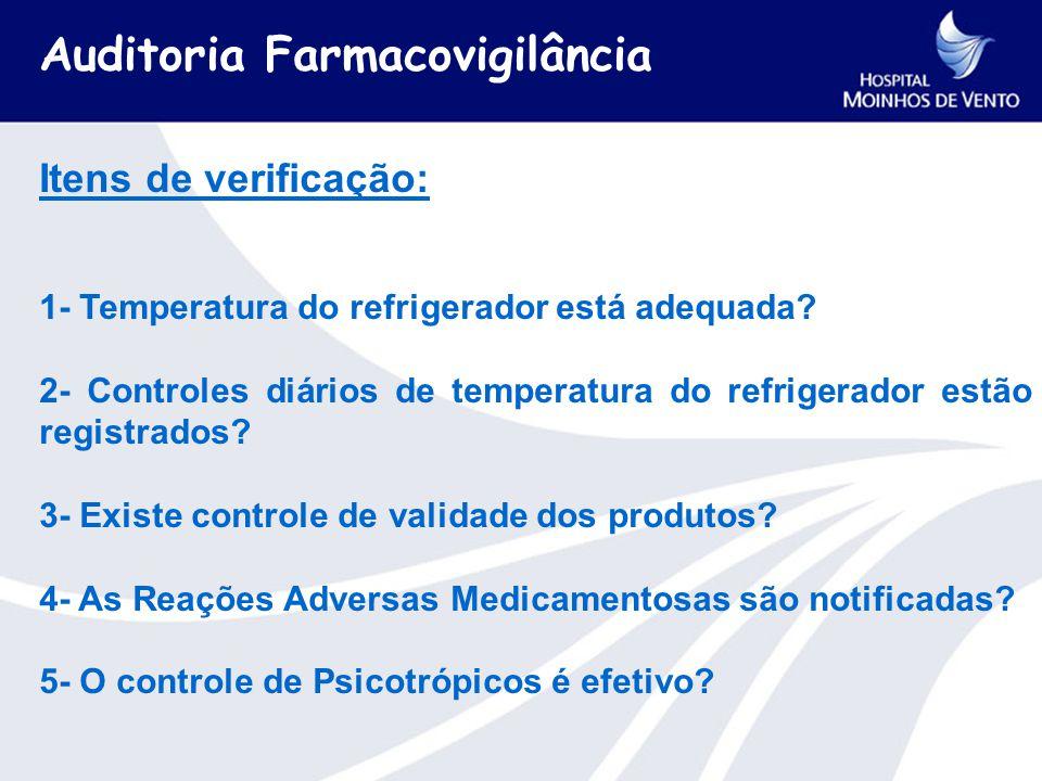 Itens de verificação: 1- Temperatura do refrigerador está adequada.