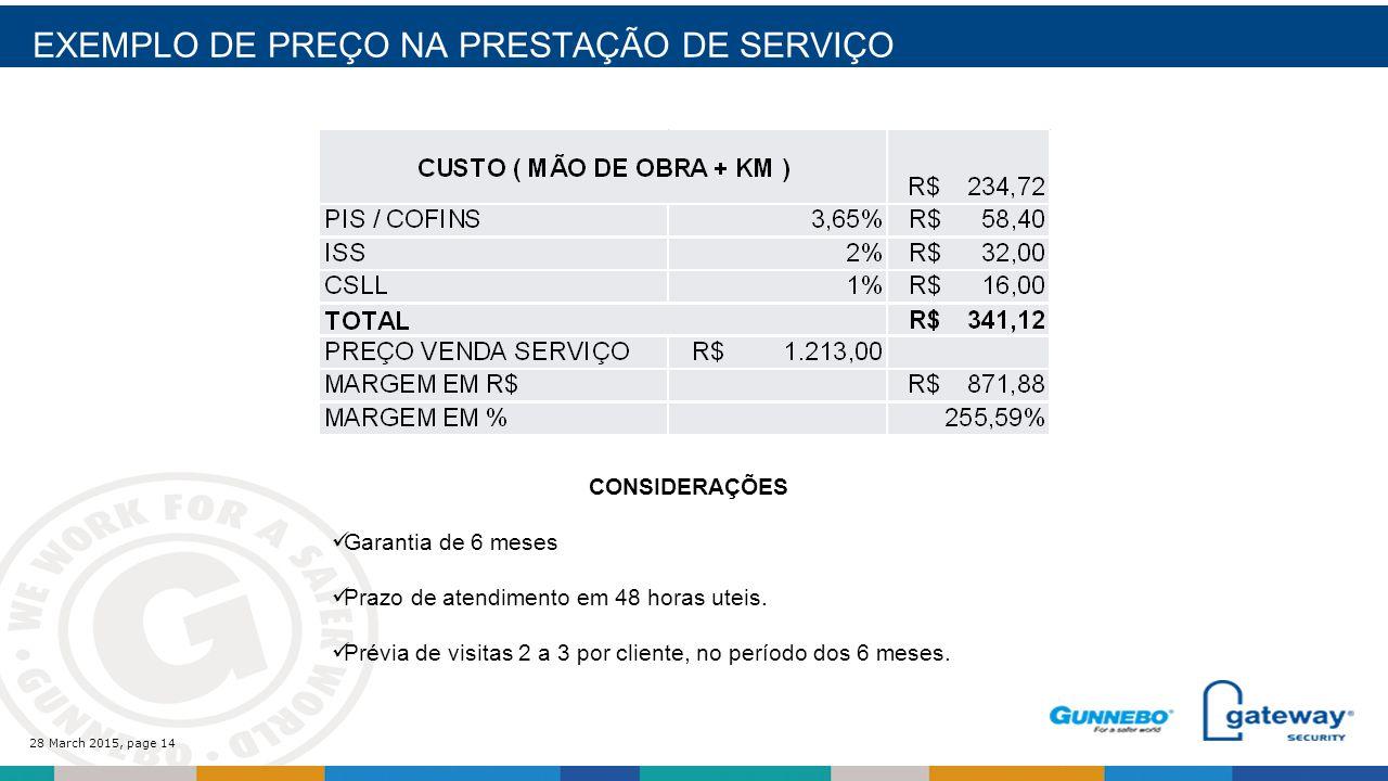 28 March 2015, page 14 EXEMPLO DE PREÇO NA PRESTAÇÃO DE SERVIÇO CONSIDERAÇÕES Garantia de 6 meses Prazo de atendimento em 48 horas uteis.
