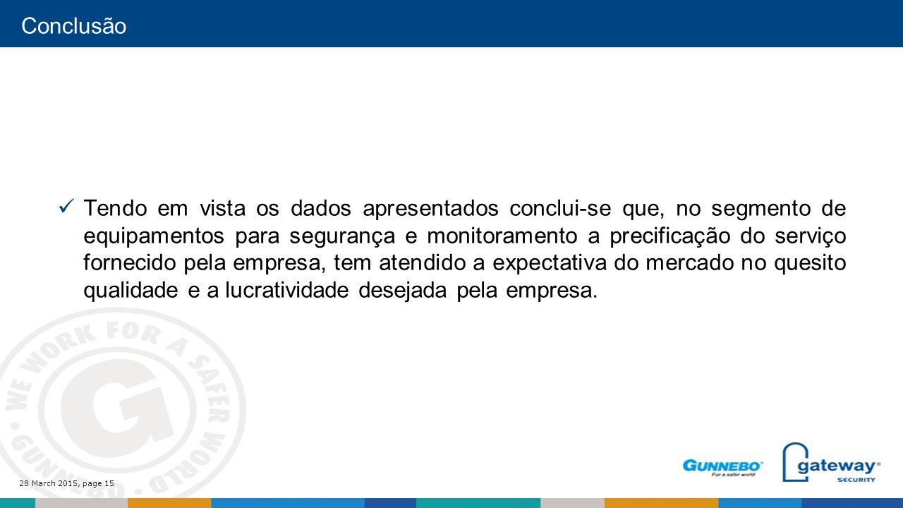 28 March 2015, page 15 Conclusão Tendo em vista os dados apresentados conclui-se que, no segmento de equipamentos para segurança e monitoramento a precificação do serviço fornecido pela empresa, tem atendido a expectativa do mercado no quesito qualidade e a lucratividade desejada pela empresa.