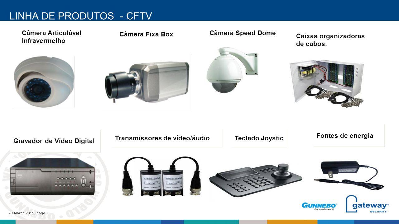 28 March 2015, page 7 LINHA DE PRODUTOS - CFTV Câmera Articulável Infravermelho Câmera Fixa Box Câmera Speed Dome Caixas organizadoras de cabos.