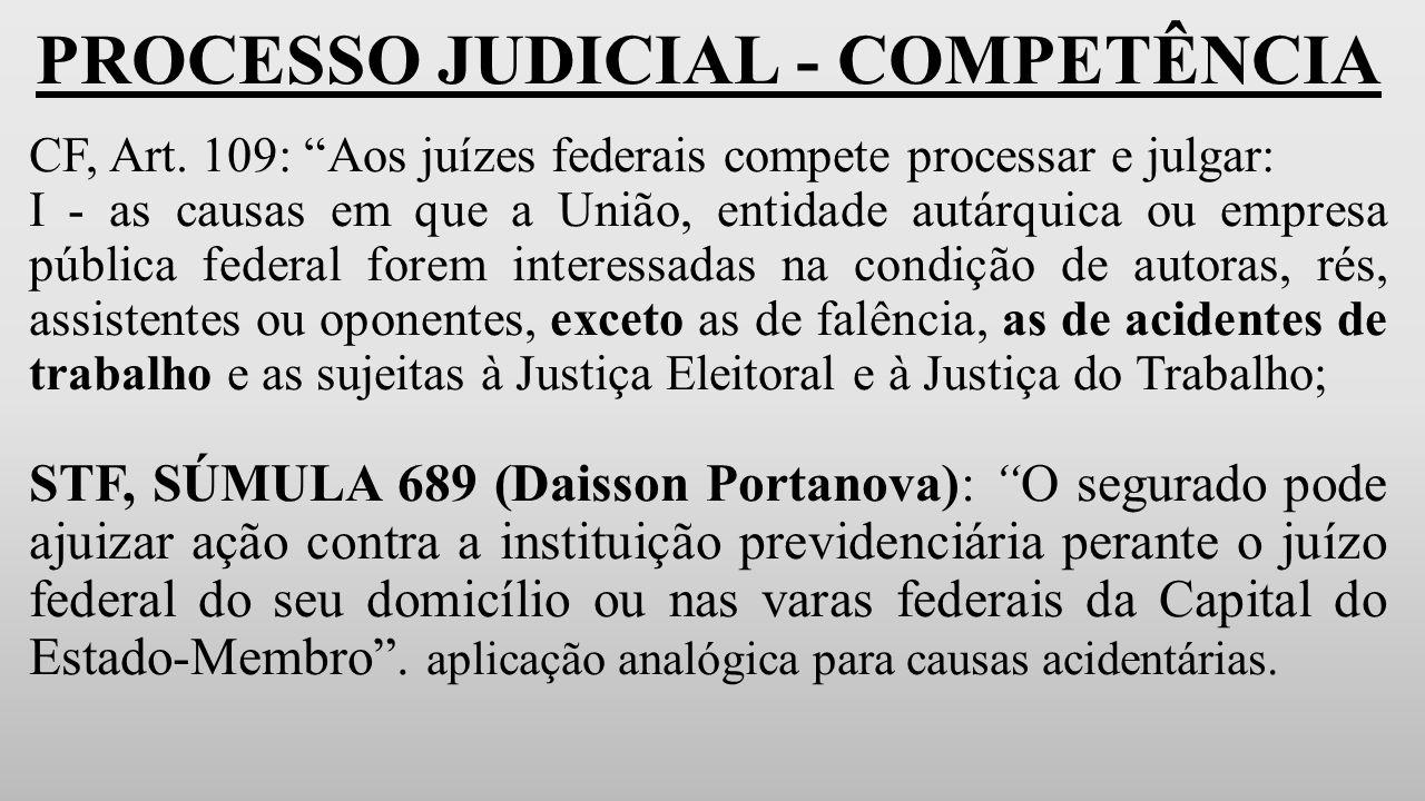 PROCESSO JUDICIAL - COMPETÊNCIA CF, Art.