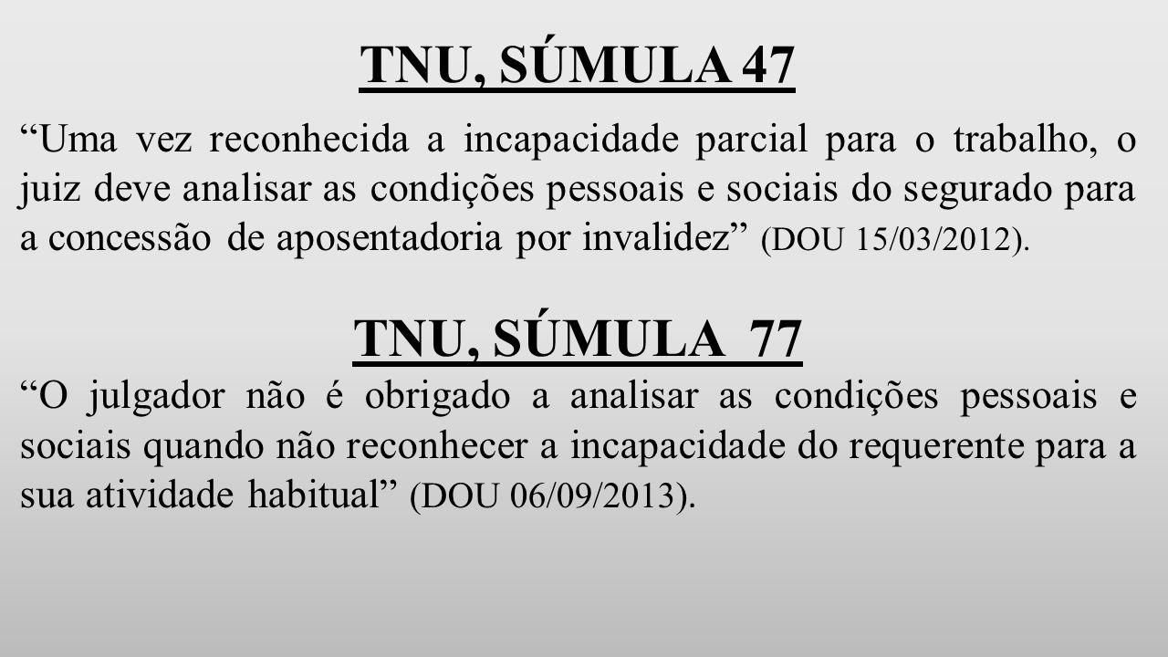 TNU, SÚMULA 47 Uma vez reconhecida a incapacidade parcial para o trabalho, o juiz deve analisar as condições pessoais e sociais do segurado para a concessão de aposentadoria por invalidez (DOU 15/03/2012).