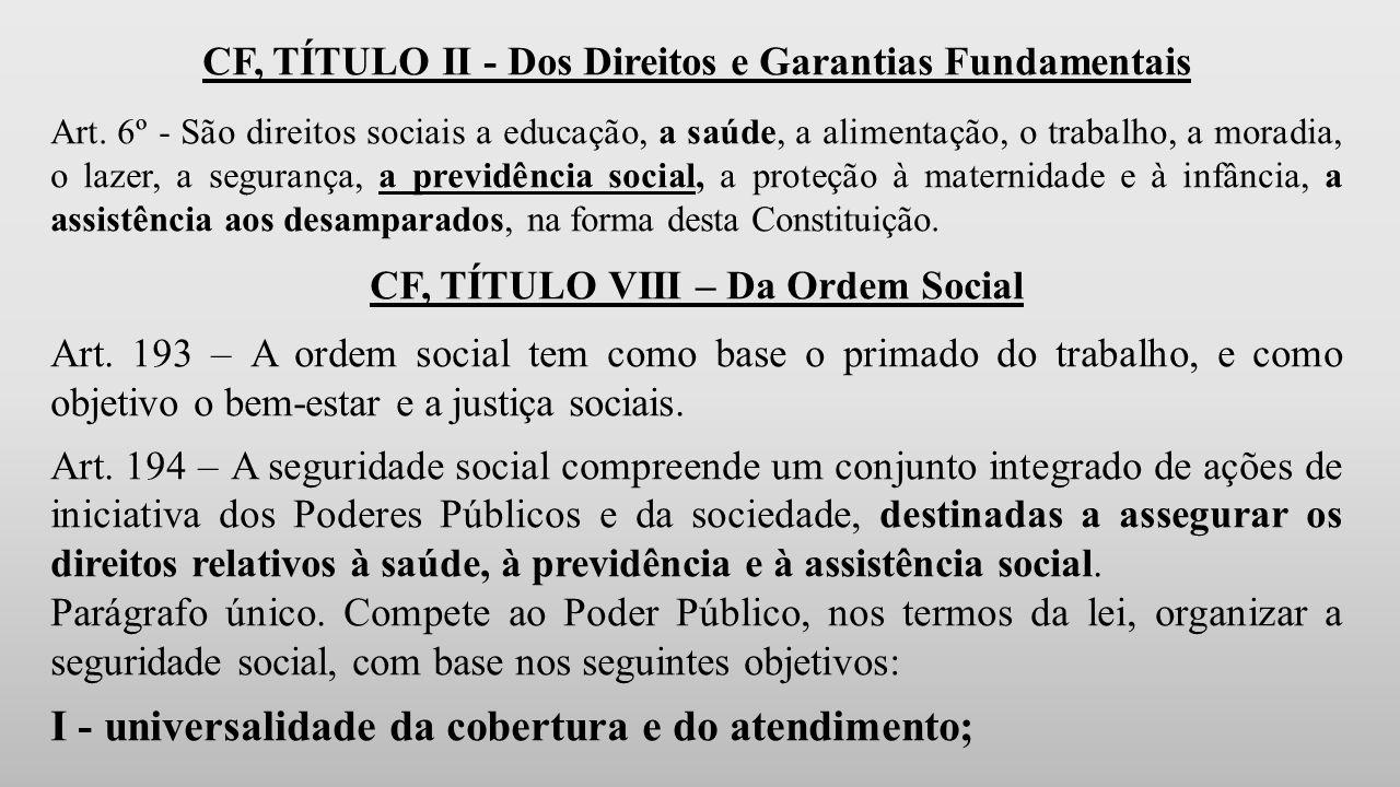 CF, TÍTULO II - Dos Direitos e Garantias Fundamentais Art.