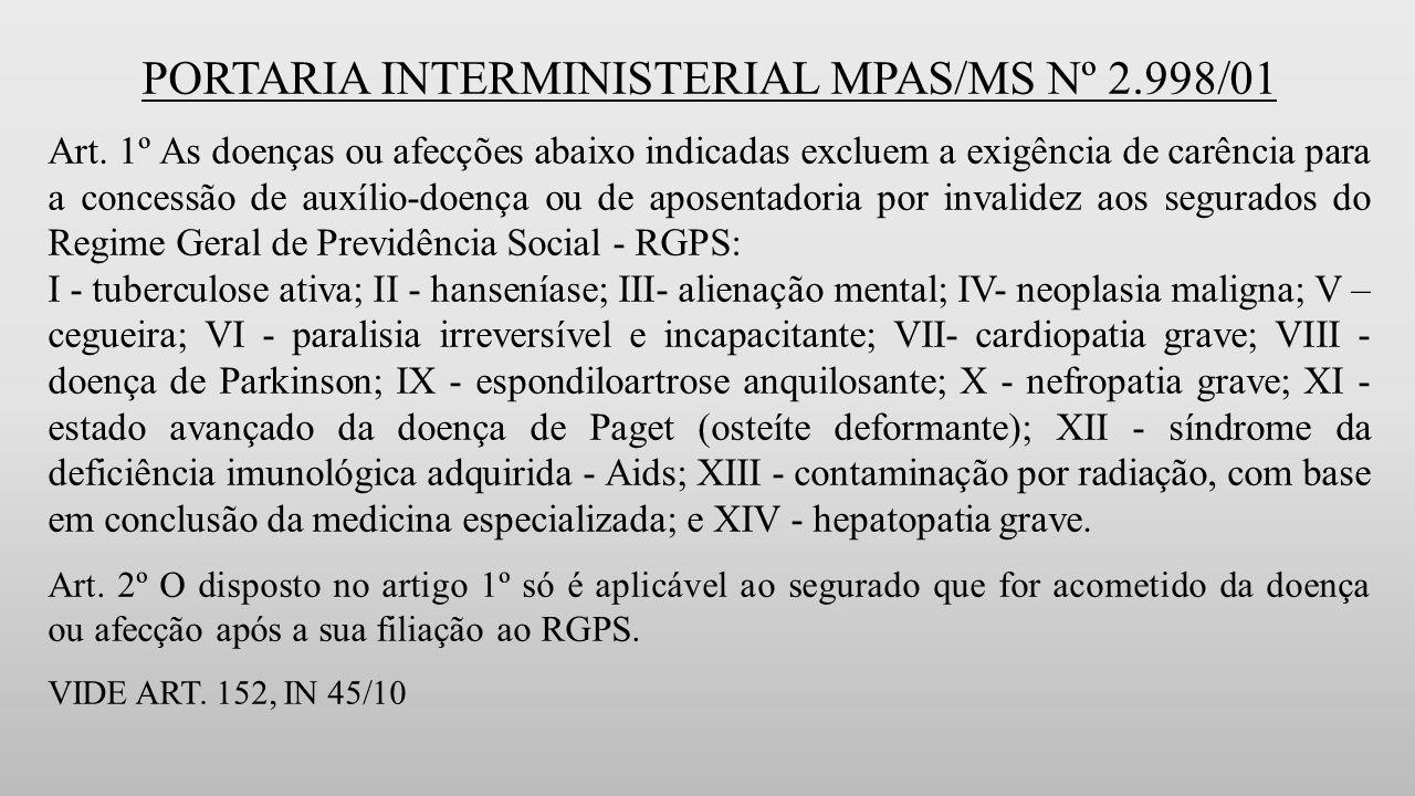 PORTARIA INTERMINISTERIAL MPAS/MS Nº 2.998/01 Art.