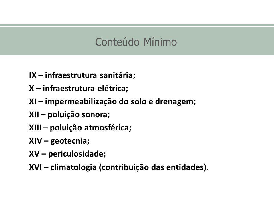 Conteúdo Mínimo IX – infraestrutura sanitária; X – infraestrutura elétrica; XI – impermeabilização do solo e drenagem; XII – poluição sonora; XIII – p