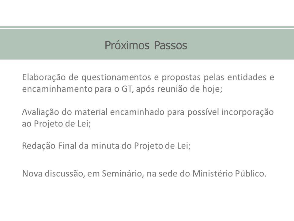 Próximos Passos Redação Final da minuta do Projeto de Lei; Elaboração de questionamentos e propostas pelas entidades e encaminhamento para o GT, após