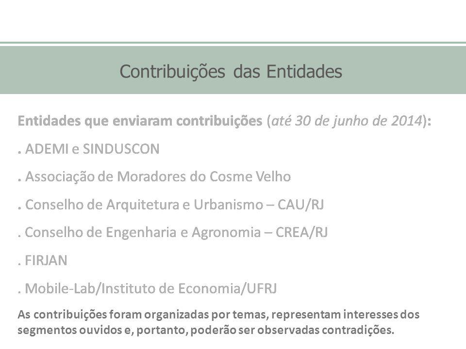 Contribuições das Entidades Entidades que enviaram contribuições (até 30 de junho de 2014):. ADEMI e SINDUSCON. Associação de Moradores do Cosme Velho