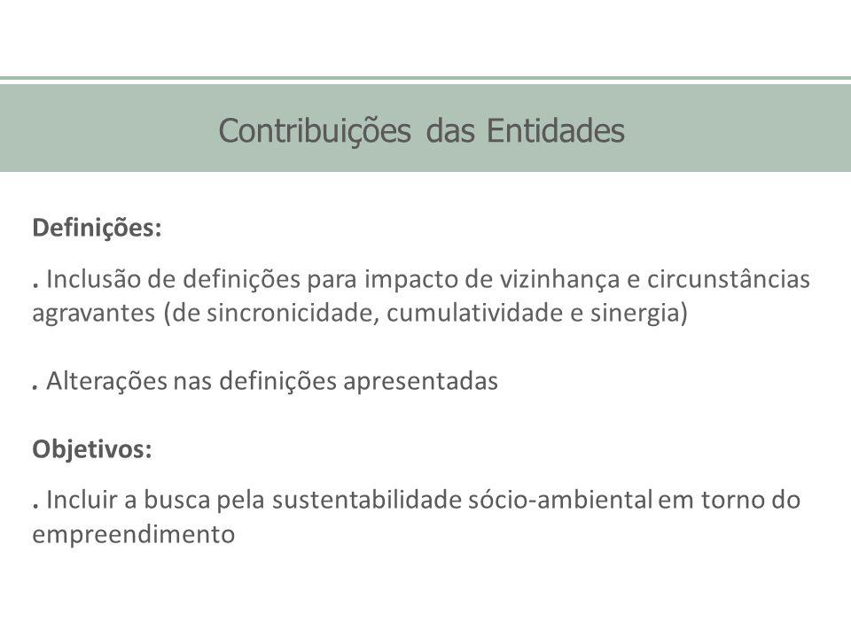 Contribuições das Entidades Definições:. Inclusão de definições para impacto de vizinhança e circunstâncias agravantes (de sincronicidade, cumulativid