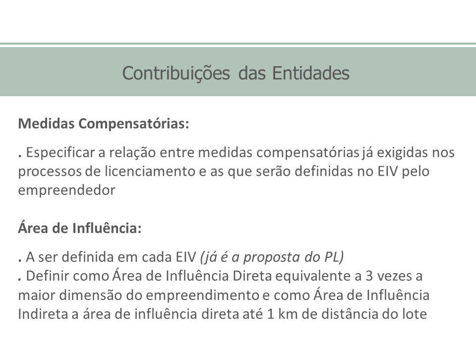 Contribuições das Entidades Medidas Compensatórias:. Especificar a relação entre medidas compensatórias já exigidas nos processos de licenciamento e a