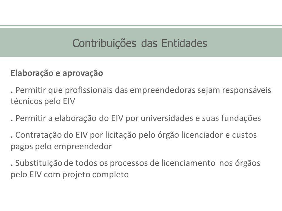 Contribuições das Entidades Elaboração e aprovação. Permitir que profissionais das empreendedoras sejam responsáveis técnicos pelo EIV. Permitir a ela