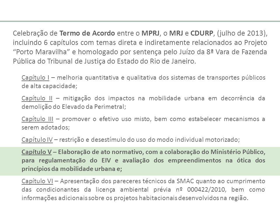 Celebração de Termo de Acordo entre o MPRJ, o MRJ e CDURP, (julho de 2013), incluindo 6 capítulos com temas direta e indiretamente relacionados ao Pro