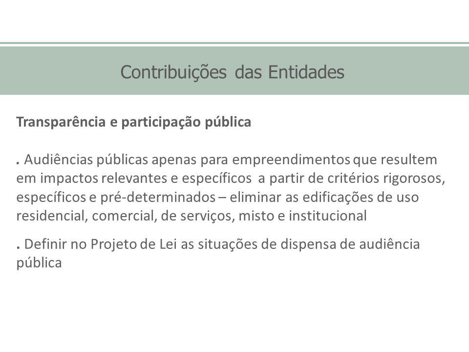 Contribuições das Entidades Transparência e participação pública. Audiências públicas apenas para empreendimentos que resultem em impactos relevantes