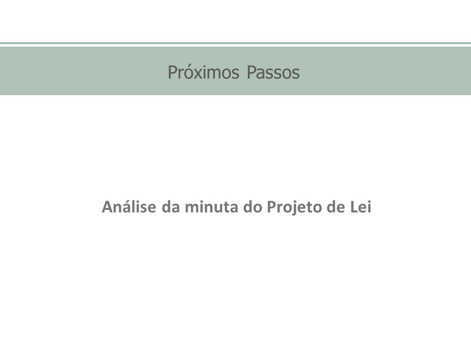 Próximos Passos Análise da minuta do Projeto de Lei