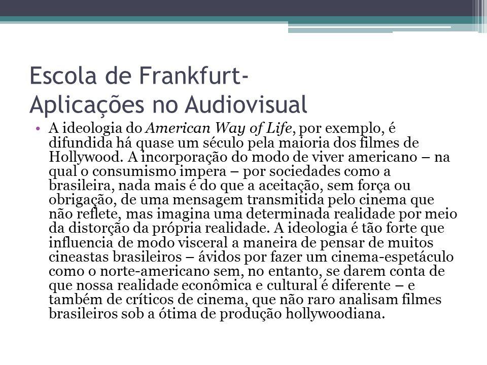 Escola de Frankfurt- Aplicações no Audiovisual A ideologia do American Way of Life, por exemplo, é difundida há quase um século pela maioria dos filme