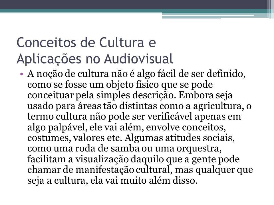 Conceitos de Cultura e Aplicações no Audiovisual A noção de cultura não é algo fácil de ser definido, como se fosse um objeto físico que se pode conce