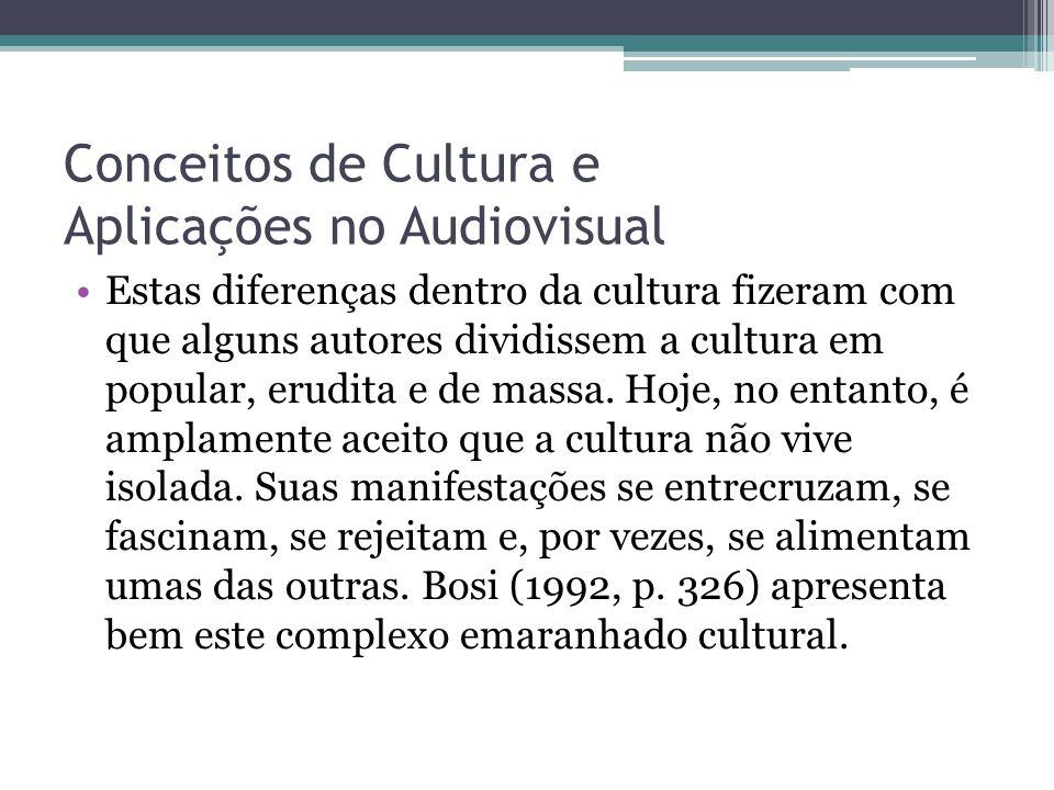 Conceitos de Cultura e Aplicações no Audiovisual Estas diferenças dentro da cultura fizeram com que alguns autores dividissem a cultura em popular, er