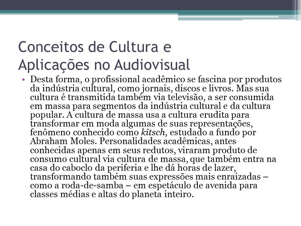 Conceitos de Cultura e Aplicações no Audiovisual Desta forma, o profissional acadêmico se fascina por produtos da indústria cultural, como jornais, di