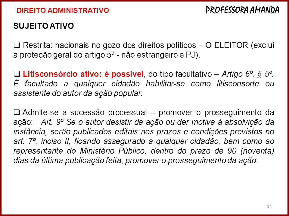 14 SUJEITO ATIVO  Restrita: nacionais no gozo dos direitos políticos – O ELEITOR (exclui a proteção geral do artigo 5º - não estrangeiro e PJ).  Lit