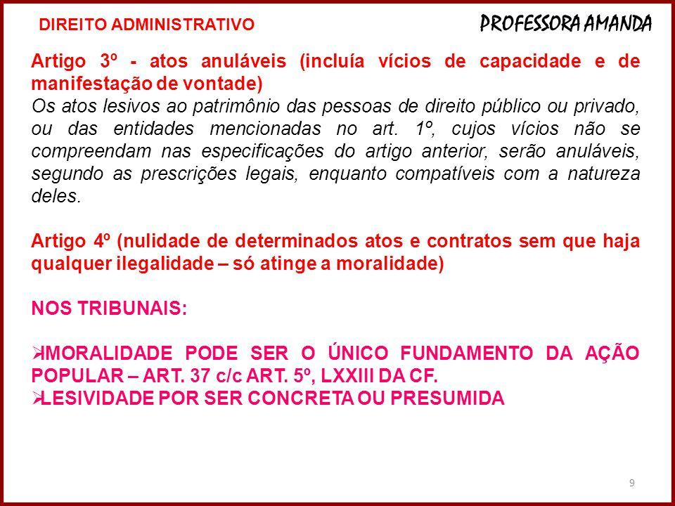 9 Artigo 3º - atos anuláveis (incluía vícios de capacidade e de manifestação de vontade) Os atos lesivos ao patrimônio das pessoas de direito público