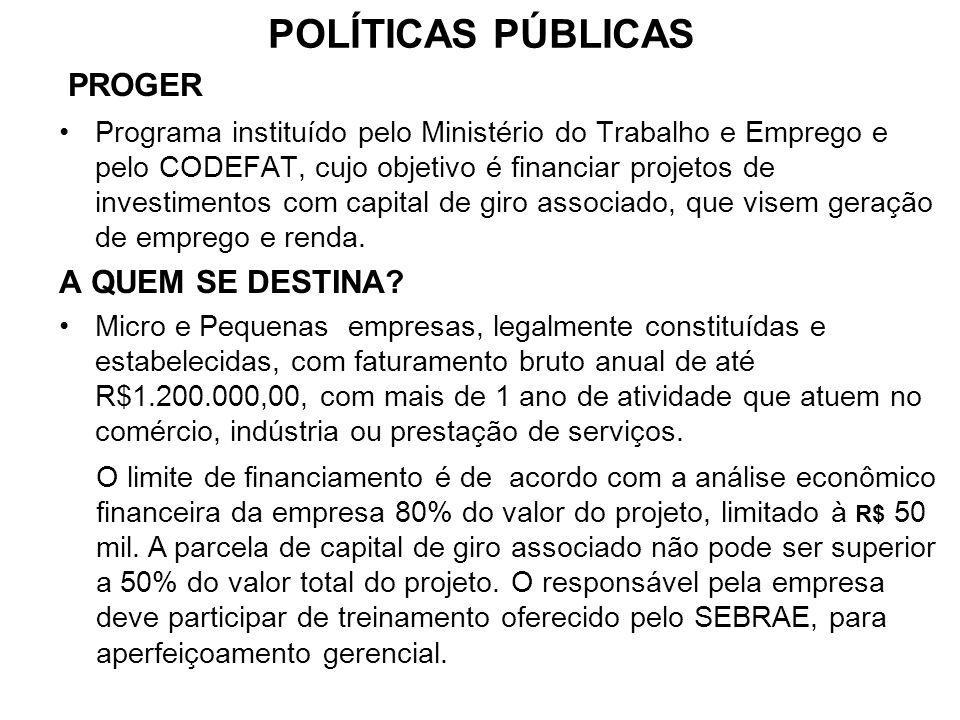 POLÍTICAS PÚBLICAS PROGER Programa instituído pelo Ministério do Trabalho e Emprego e pelo CODEFAT, cujo objetivo é financiar projetos de investimento