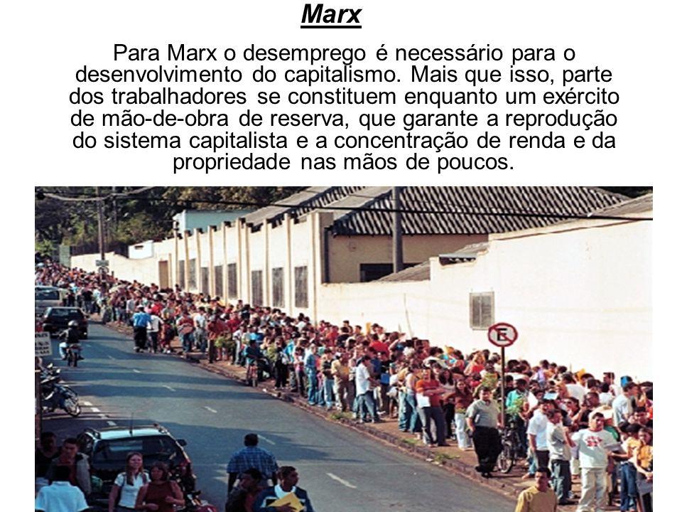 Marx Para Marx o desemprego é necessário para o desenvolvimento do capitalismo. Mais que isso, parte dos trabalhadores se constituem enquanto um exérc
