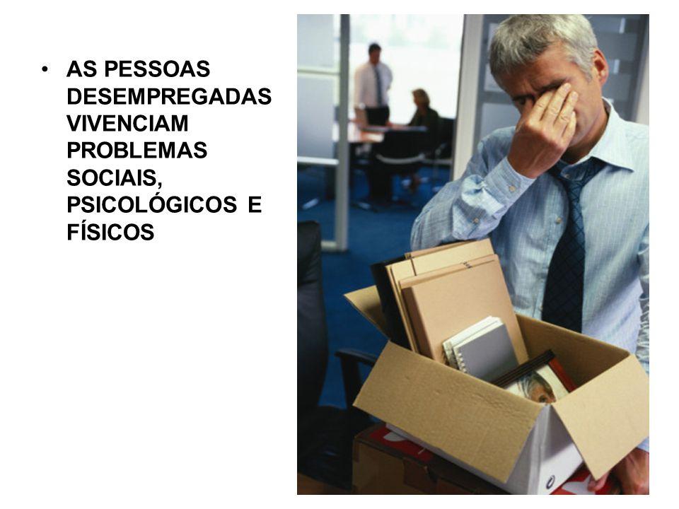 AS PESSOAS DESEMPREGADAS VIVENCIAM PROBLEMAS SOCIAIS, PSICOLÓGICOS E FÍSICOS
