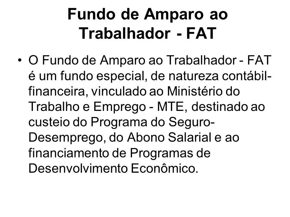 Fundo de Amparo ao Trabalhador - FAT O Fundo de Amparo ao Trabalhador - FAT é um fundo especial, de natureza contábil- financeira, vinculado ao Minist