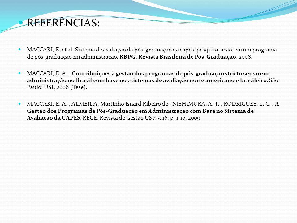 REFERÊNCIAS: MACCARI, E.et al.