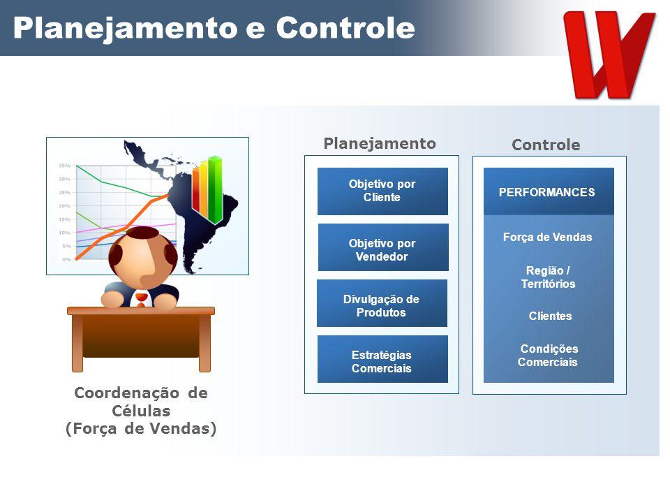 Planejamento e Controle Coordenação de Células (Força de Vendas) Objetivo por Cliente Objetivo por Vendedor Divulgação de Produtos Estratégias Comerci