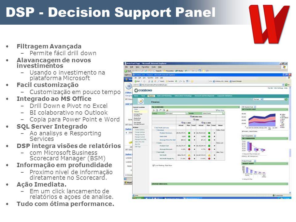DSP - Decision Support Panel Filtragem Avançada –Permite fácil drill down Alavancagem de novos investimentos –Usando o investimento na plataforma Micr