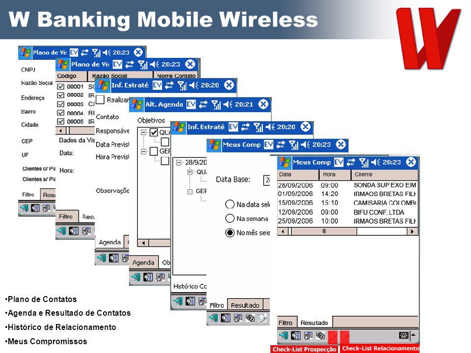 W Banking Mobile Wireless Plano de Contatos Agenda e Resultado de Contatos Histórico de Relacionamento Meus Compromissos