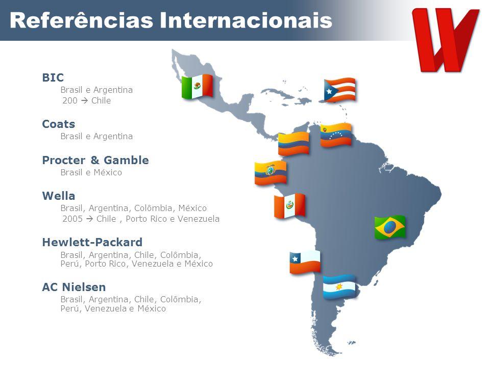Referências Internacionais BIC Brasil e Argentina 200  Chile Coats Brasil e Argentina Procter & Gamble Brasil e México Wella Brasil, Argentina, Colôm