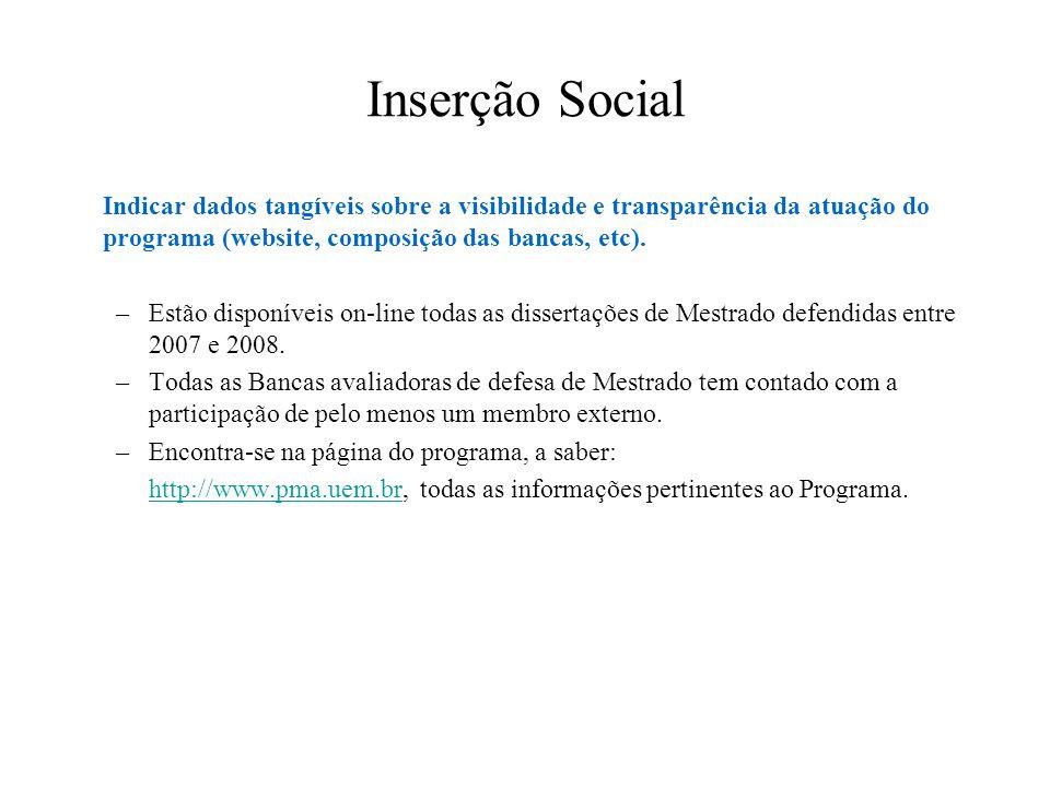 Inserção Social Indicar dados tangíveis sobre a visibilidade e transparência da atuação do programa (website, composição das bancas, etc). –Estão disp