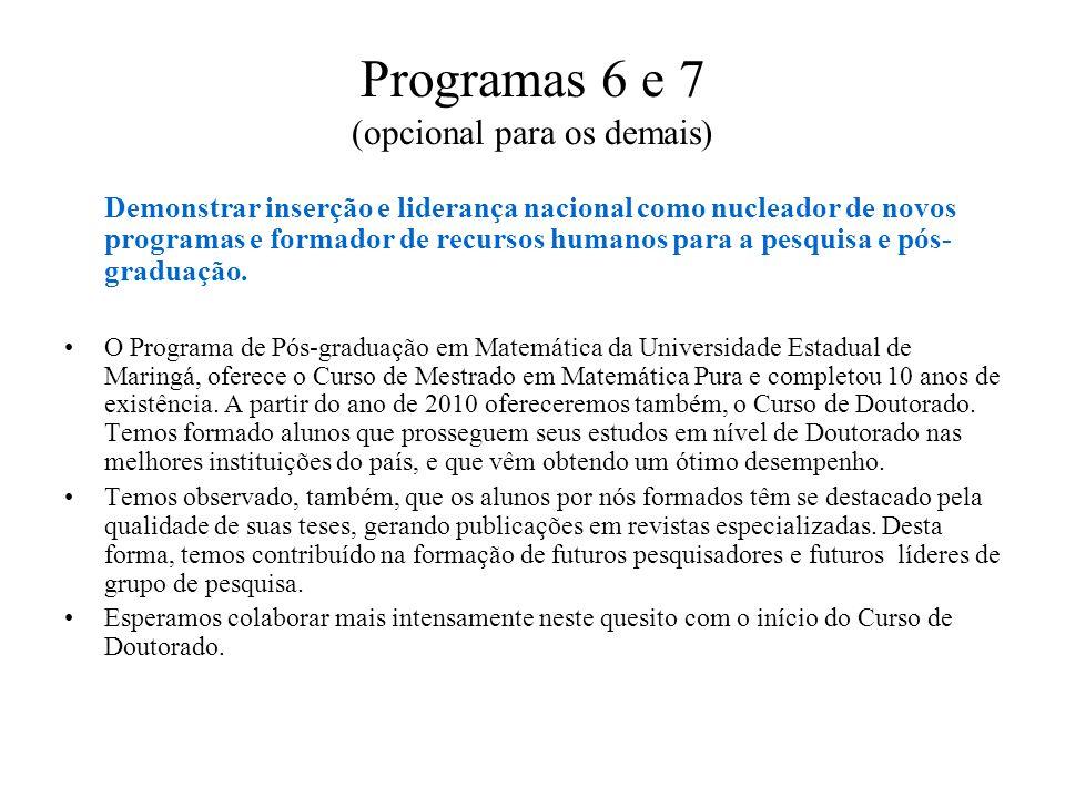Programas 6 e 7 (opcional para os demais) Demonstrar inserção e liderança nacional como nucleador de novos programas e formador de recursos humanos pa