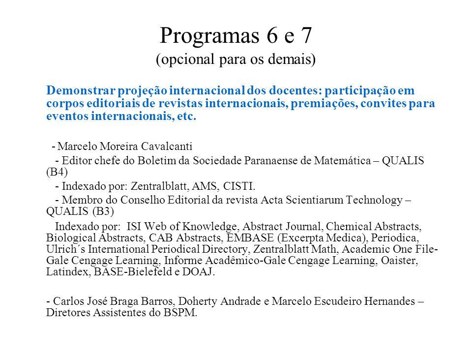 Programas 6 e 7 (opcional para os demais) Demonstrar projeção internacional dos docentes: participação em corpos editoriais de revistas internacionais