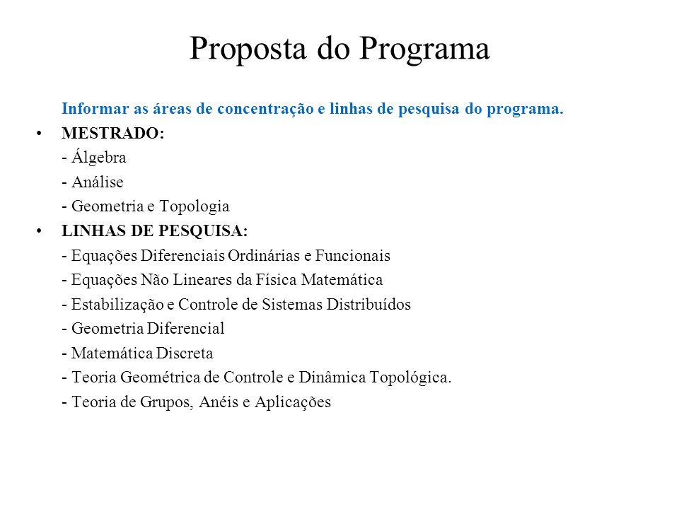 Proposta do Programa Informar as áreas de concentração e linhas de pesquisa do programa. MESTRADO: - Álgebra - Análise - Geometria e Topologia LINHAS