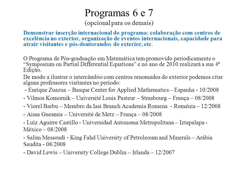 Programas 6 e 7 (opcional para os demais) Demonstrar inserção internacional do programa: colaboração com centros de excelência no exterior, organizaçã