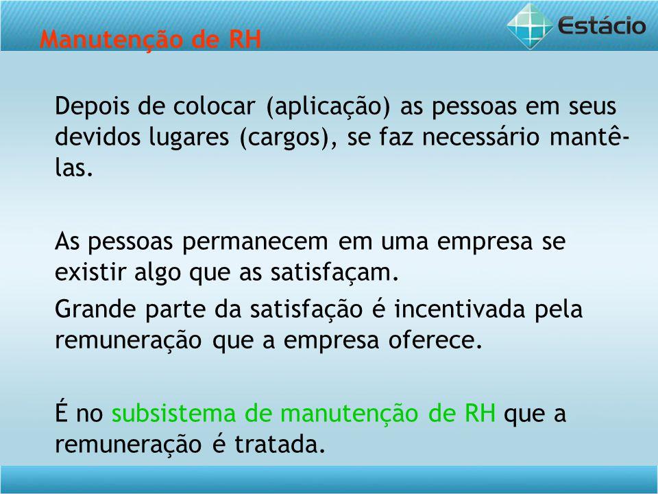 Manutenção de RH Depois de colocar (aplicação) as pessoas em seus devidos lugares (cargos), se faz necessário mantê- las.