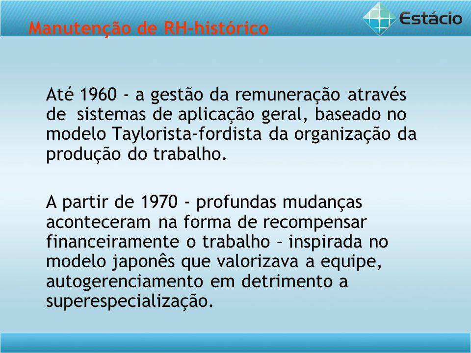 Manutenção de RH-histórico Até 1960 - a gestão da remuneração através de sistemas de aplicação geral, baseado no modelo Taylorista-fordista da organização da produção do trabalho.