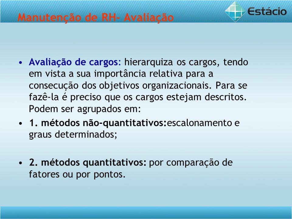 Manutenção de RH- Avaliação Avaliação de cargos: hierarquiza os cargos, tendo em vista a sua importância relativa para a consecução dos objetivos organizacionais.