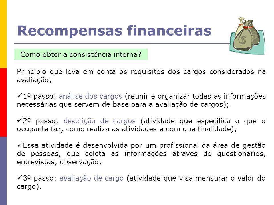 Recompensas financeiras Como obter a consistência interna.