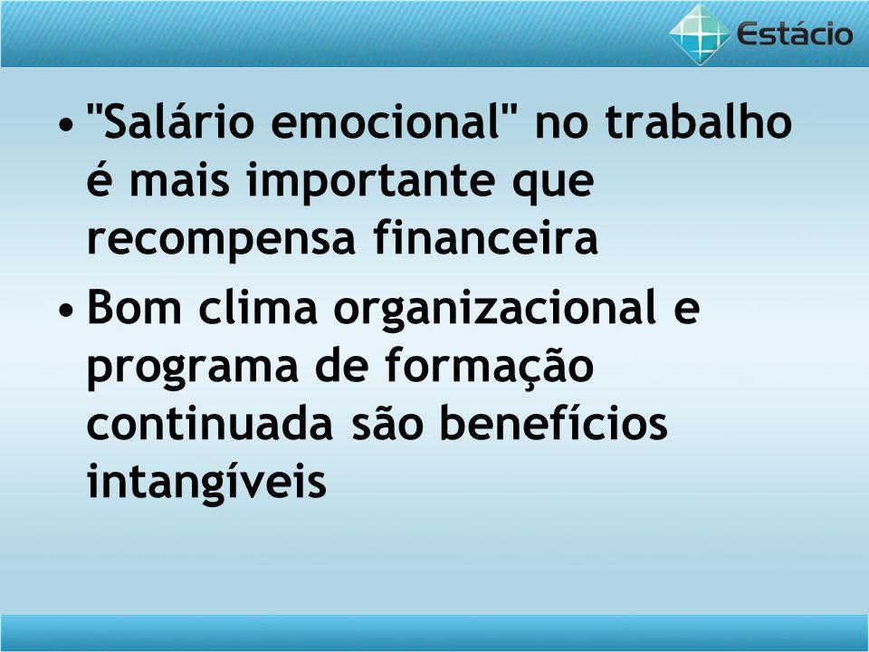 Salário emocional no trabalho é mais importante que recompensa financeira Bom clima organizacional e programa de formação continuada são benefícios intangíveis