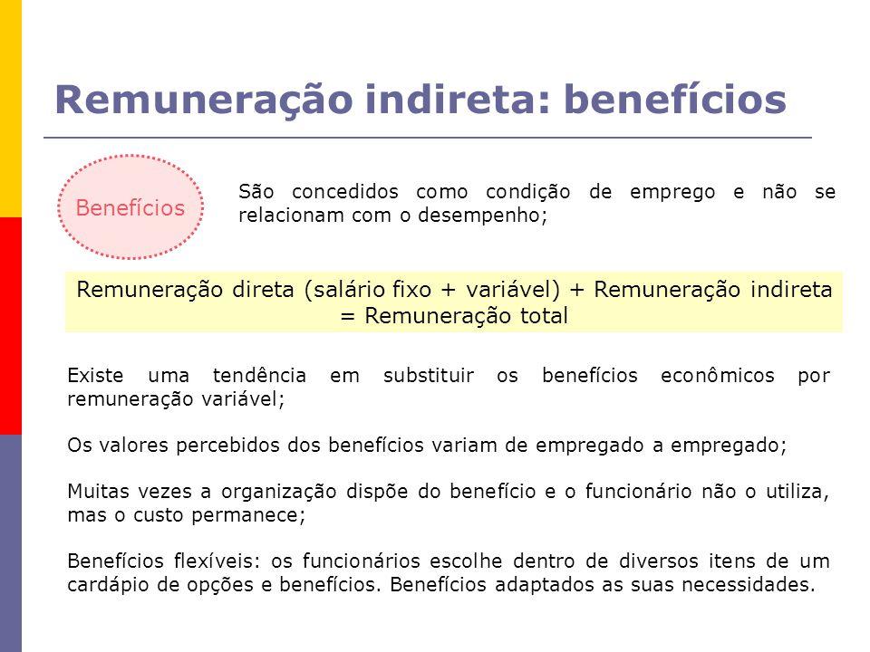 Benefícios São concedidos como condição de emprego e não se relacionam com o desempenho; Remuneração direta (salário fixo + variável) + Remuneração indireta = Remuneração total Existe uma tendência em substituir os benefícios econômicos por remuneração variável; Os valores percebidos dos benefícios variam de empregado a empregado; Muitas vezes a organização dispõe do benefício e o funcionário não o utiliza, mas o custo permanece; Benefícios flexíveis: os funcionários escolhe dentro de diversos itens de um cardápio de opções e benefícios.