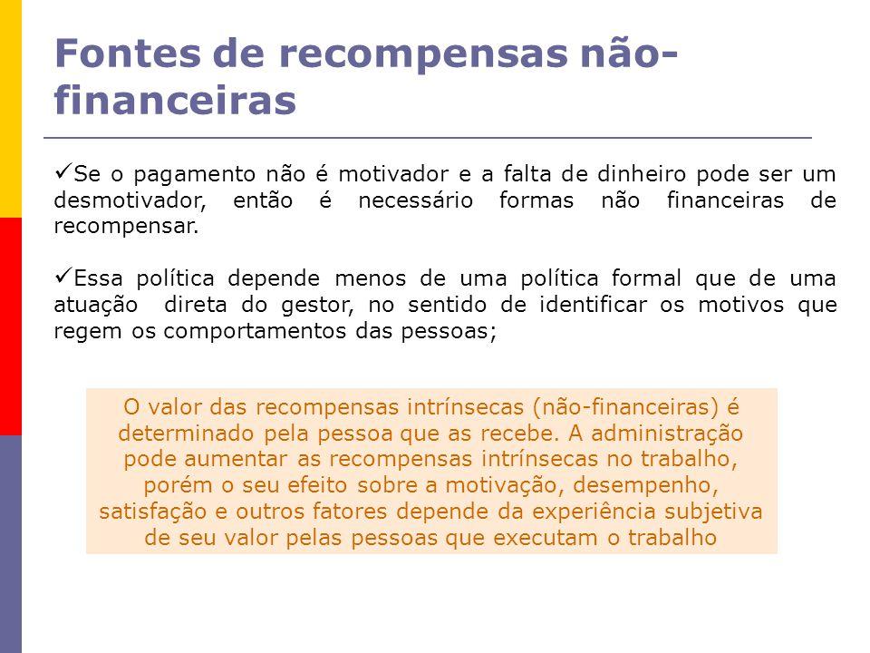 Fontes de recompensas não- financeiras Se o pagamento não é motivador e a falta de dinheiro pode ser um desmotivador, então é necessário formas não financeiras de recompensar.